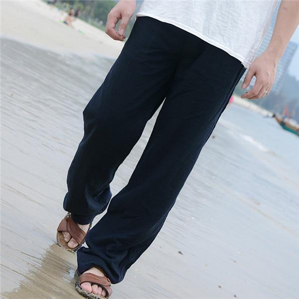 Summer Spring Mens Linen Long Pants Elastic Waist Solid Color Straight Casualeticdress-eticdress