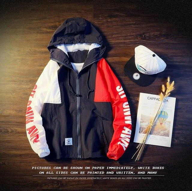 New Spring Jacket Color Block Patchwork Windbreaker Hooded Jackets Men Hip Hopeticdress-eticdress