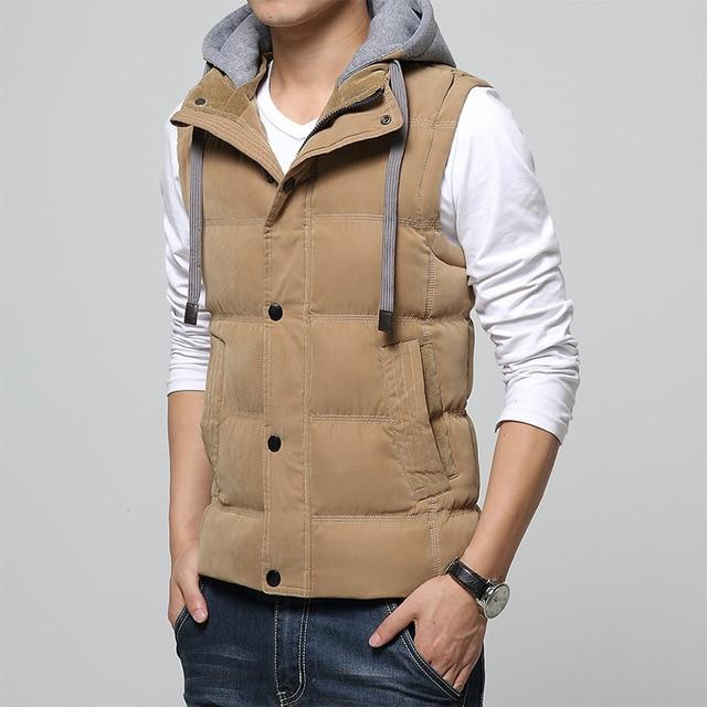 M-4XL Casual Men Vest Men Slim Fit 2018 Waistcoat Hat Detachable Hoodedeticdress-eticdress