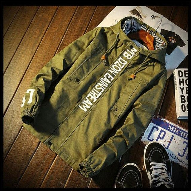 Winter Green bomber jacket men thin Printing jacket men waterproof meneticdress-eticdress