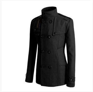 Slim Fit Long Coat Warm Double Breasted Peacoat Coat Jacket - Blacketicdress-eticdress