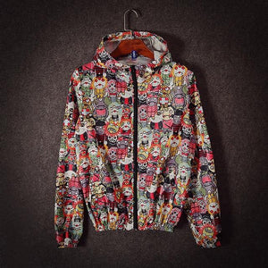 Japanese Harajuku Jacket Men and Women Monster Print Thin Hooded Coateticdress-eticdress