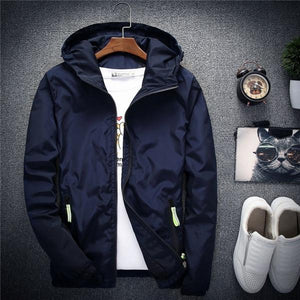 New Spring Autumn Casual Solid Windbreaker Jacket Men/Women Hooded Thin Zipper Coateticdress-eticdress