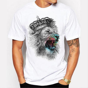 men's lastest 2017 fashion short sleeve king of lion printed t-shirt funnyeticdress-eticdress