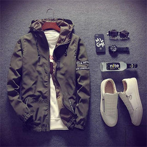 Spring Autumn Men Thin Army Green Jacket With Hooded Slim Fit Yongeticdress-eticdress