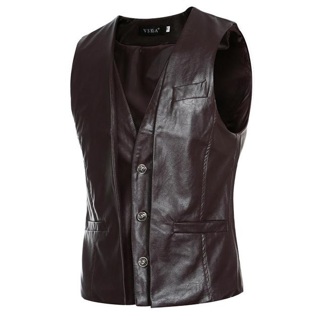 Motorcycle Leather Vests PU Autumn Spring Fashion Sleeveless Jacket Casual Slim Cowboyeticdress-eticdress