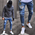 Men Stylish Ripped Jean Pants Biker Skinny Slim Straight Frayed Denim Trouserseticdress-eticdress