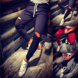 Hiriigin Joggers Fashion Mens Sweatpants Holes Leisure Pants Cotton Belt Style Longeticdress-eticdress
