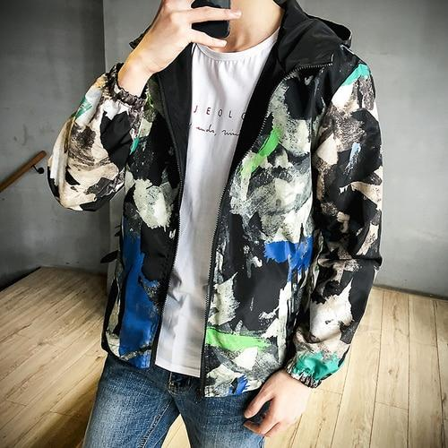 Spring Autumn Jackets Men Fashion Military Tactival Graffiti Hooded Windbreaker Puls Sizeeticdress-eticdress
