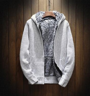 knitting thick Hoodie Zip Hooded 2018 Men's Sweaters Autumn Winter Warmeticdress-eticdress