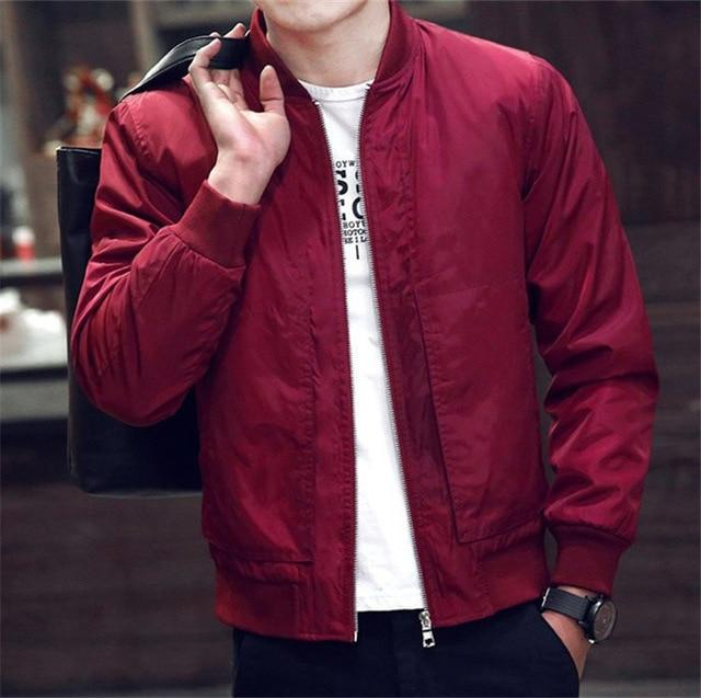 2018 New Spring Autumn Casual Solid Fashion Slim Men Bomber Jacket Maleeticdress-eticdress