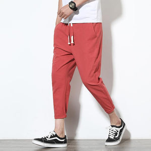 2018New High quality Men's Summer Casual Pants Natural Cotton Linen Trousers Whiteeticdress-eticdress