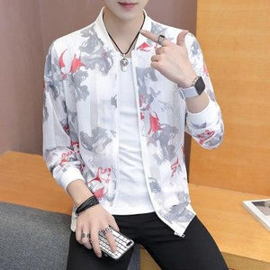 Summer Sun Protection Clothing Korean Slim Fit Bomber Jacket Women Print Holloweticdress-eticdress