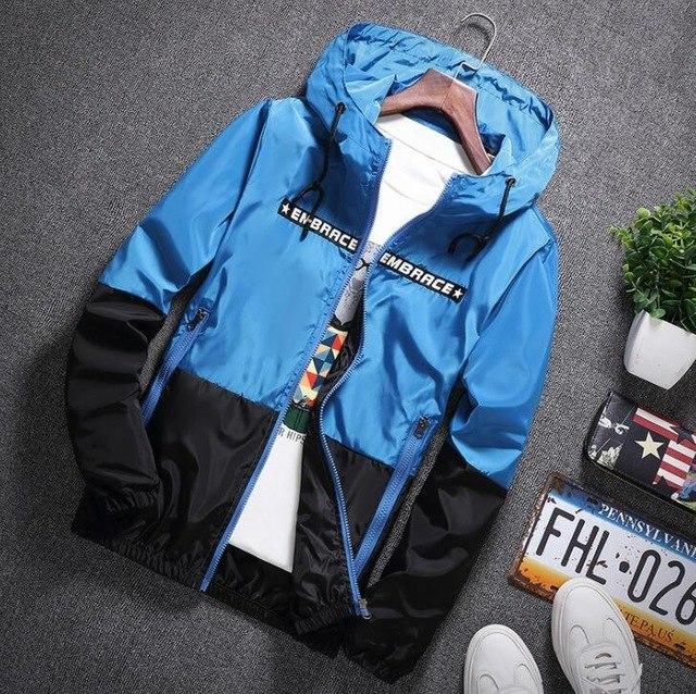 men jacket windbreaker thin patchwork zipper jacketseticdress-eticdress