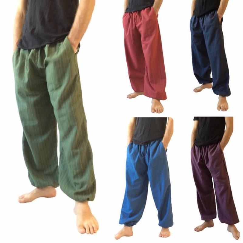 Cotton Men Long Trousers Hip Hop Joggers Harem Pants Boho Elastic Waisteticdress-eticdress