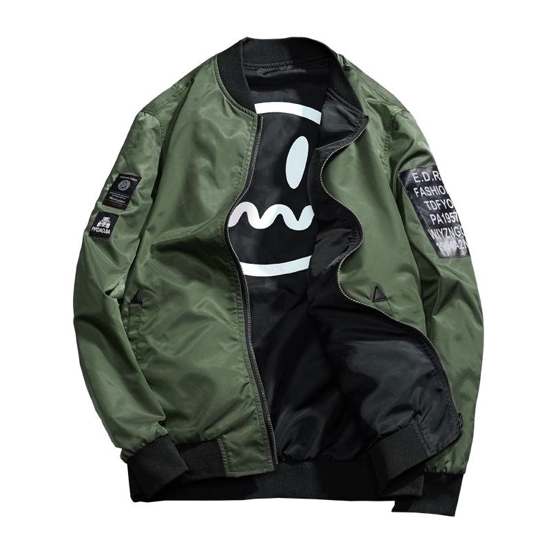 Jacket Men Pilot with Patches Green Both Side Wear Thin Pilot Bombereticdress-eticdress