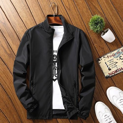 Spring Summer Men's Bomber Jacket Thin Sunscreen Waterproof Breathable Solid Windbreakereticdress-eticdress