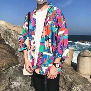 Full Printed Japanese Style Kimono Jacket Men 2018 Summer Three Quarter Sleeveeticdress-eticdress