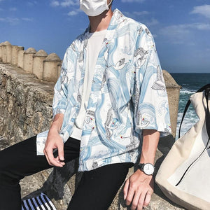 Crane Ful Printed Three Quarter Kimono Jacket Men 2018 Summer Open Stitcheticdress-eticdress