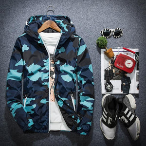 2018 New Fashion Brand Camouflage Jacket Men Plus Size Camo Hooded Windbreakereticdress-eticdress