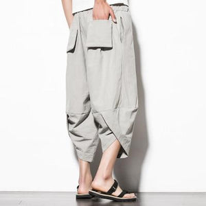 Men New Cotton Linen Wide Leg Pants Japanese Style Kimono Male Fashioneticdress-eticdress