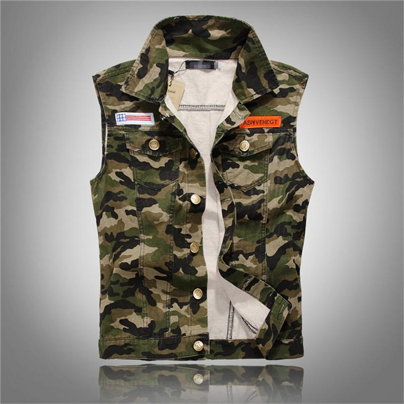 New Spring Autumn Men's Camouflage Denim Vests Military Sleeveless Jeans Jackets Casualeticdress-eticdress