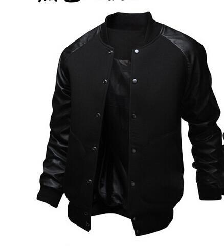 Cool College Baseball Jacket Men 2017 Fashion Design Black Pu Leather Sleeveeticdress-eticdress