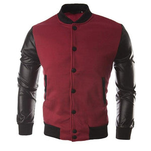 Long sleeves Men's baseball uniform 1Pcs Men's leather jacket Casual topseticdress-eticdress