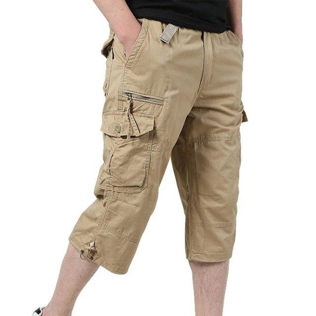Summer Loose Baggy Pants Men Casual Loose Stretch Cropped Solid Calf-Lengtheticdress-eticdress