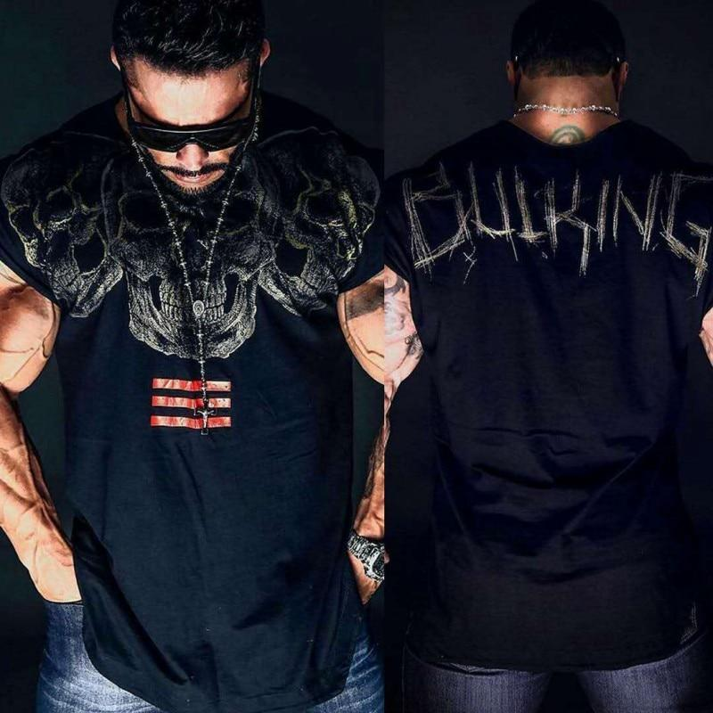2018 new personality Skull fashion Short sleeve T-shirt Brand clothing Shirts Maleeticdress-eticdress