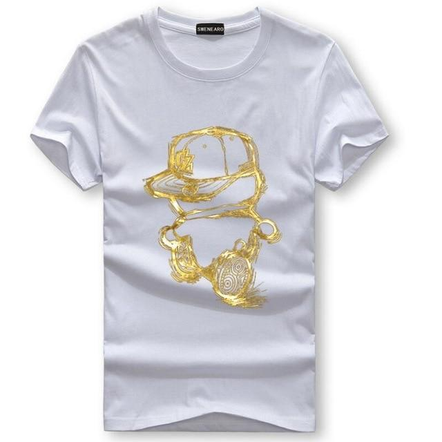 Men T-Shirts Summer Short Sleeve Casual Cotton Men tShirts Golden personeticdress-eticdress