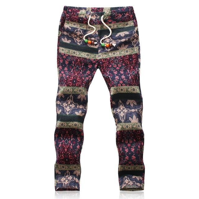 2018 Summer Designer Linen Pants Men Printing Casual Jogger Pants Boyseticdress-eticdress