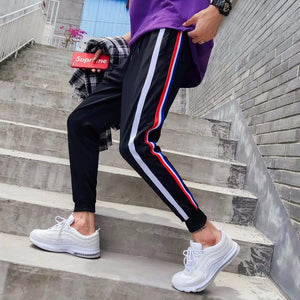 2018 Men's Fashion Casual Loose stripe Printing Cotton Pants Waist Elastic Haremeticdress-eticdress