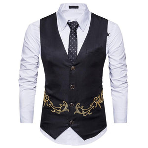 2018 casual men's sleeveless vest slim fashion embroidery vest.eticdress-eticdress