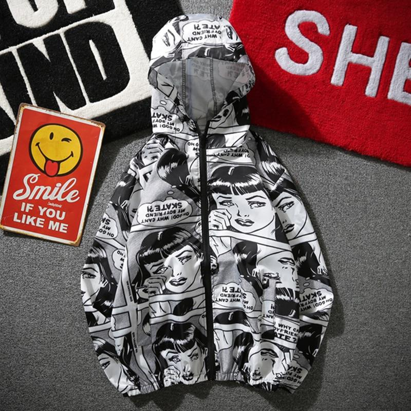 YouthCodes Skateboards Cartoon Jackets Men Comics Pocket Thin Hooded Windbreaker Coaches Sunscreeneticdress-eticdress