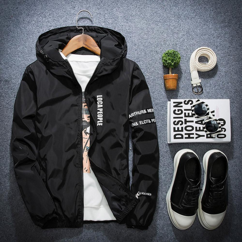 Jackets Men 2018 Summer New Thin Breathable Jackets Fashion Letter Hoodedeticdress-eticdress