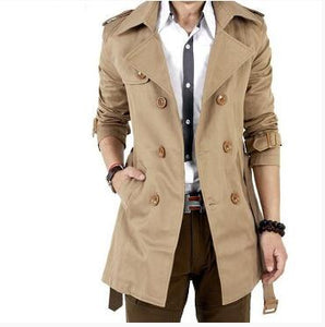 2016 Autumn Trench Coat Men Double BrMYTLted Trench Coat Men Outerwear Casualeticdress-eticdress