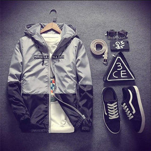 New Spring Autumn Casual Jacket Men With Hooded Patchwork Slim Fit Yongeticdress-eticdress