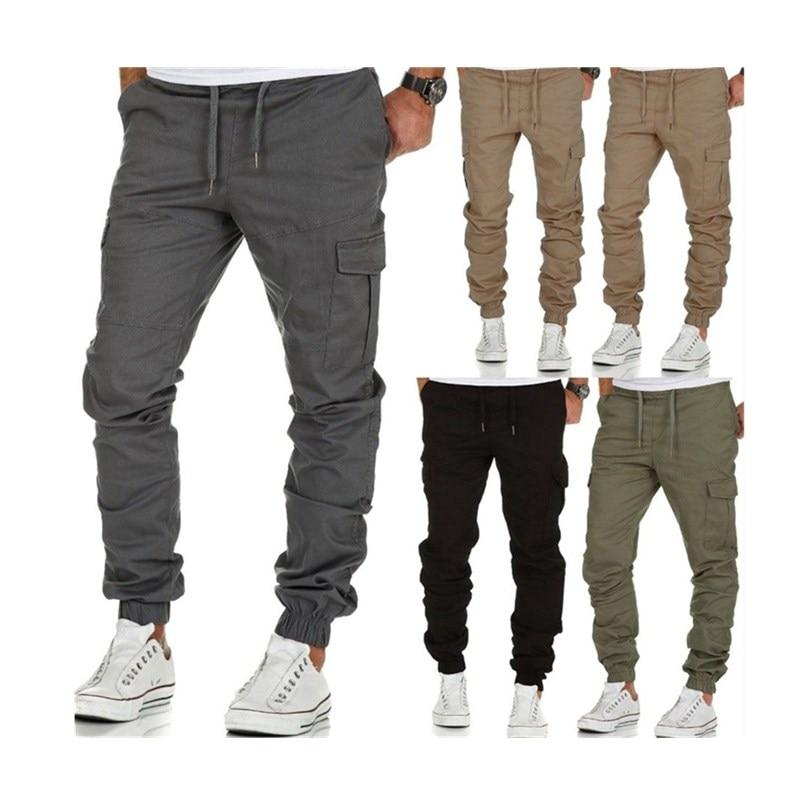 2018 Men Foreign trade hot style overalls multi-pocket trousers men's shuttle knittedeticdress-eticdress