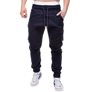 Men's Pants 2018 Fashion Men's Pure Color Bandage Casual Loose Sweatpants Drawstringeticdress-eticdress