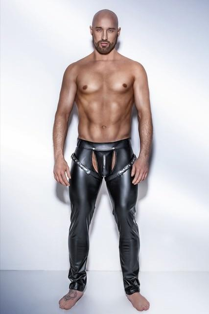 Fashion Sexy Men's Clubwear Leather Skinny Tight Pants PU Leather Trousers Elasticeticdress-eticdress