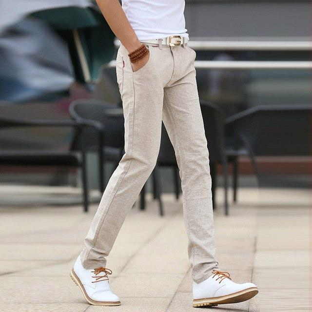 mens cotton straight casual pants solid slim soft linen Trousers Chinoeticdress-eticdress