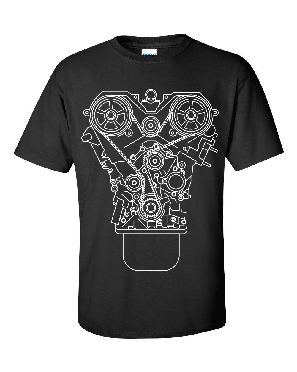 100% Cotton Brand New ENGINE DESIGN T-shirt Black S-3XL JDM Tuner Decaleticdress-eticdress