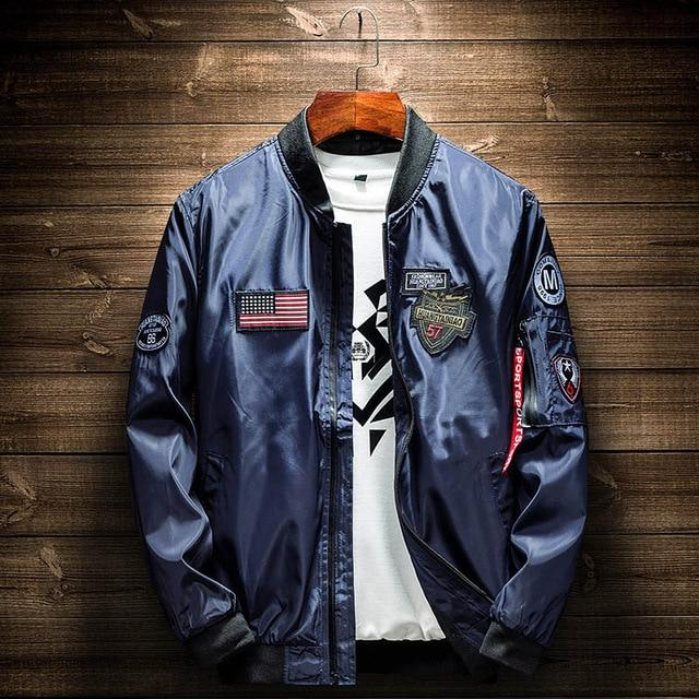 Army Green Bomber Jacket Men Fashion American Flag Patch Designs Pilot Jacketeticdress-eticdress