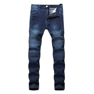 VERTVIE Fashion Fold Jeans Men Slim fit Elastic Jeans Runway Streetwear Trouserseticdress-eticdress