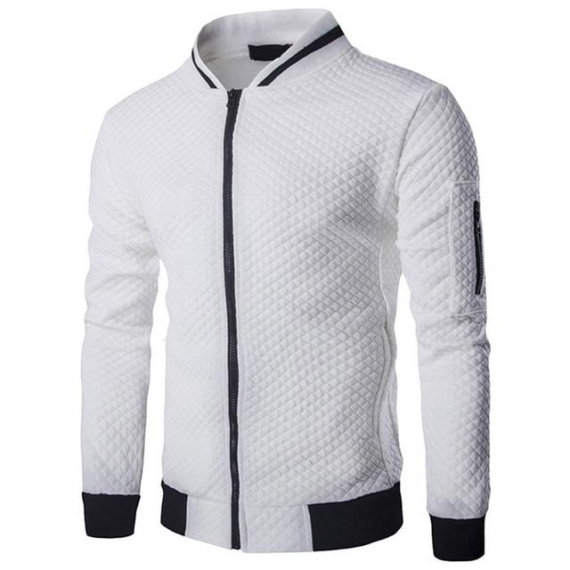 Men's Veste Homme Bomber Fit Argyle Zipper Jacket Casual Jacket 2018eticdress-eticdress