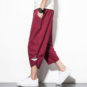 2018 New Chinese Style Male Crane Embroidery Harem pants Men Calf Lengtheticdress-eticdress