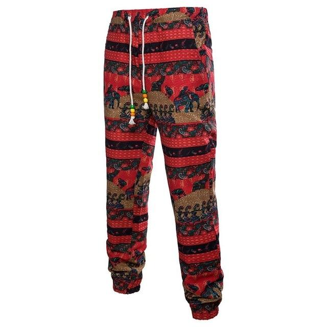 linen pants men Floral Printed Pants Fashion Men Joggers Trousers Casualeticdress-eticdress