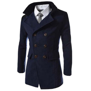 Autumn Long Wool Coat Men Fashion Turn-down Collar Wool Blend Double Breastedeticdress-eticdress