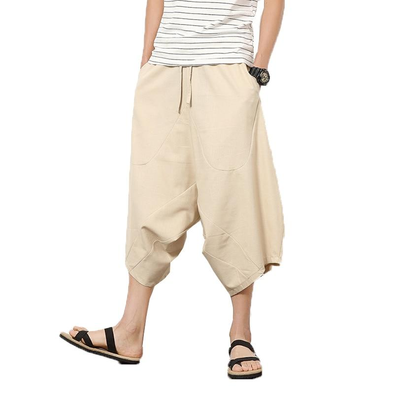 2018 Men Baggy Cross Pants Male Elastic Waist Calf Length Harem Pantseticdress-eticdress
